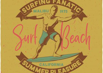 Surf beach t shirt template vector