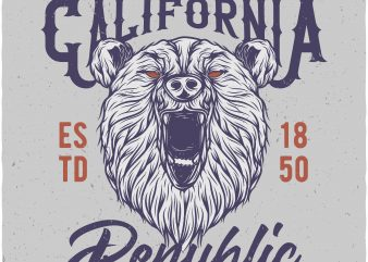 California republic. Vector t-shirt design buy t shirt design