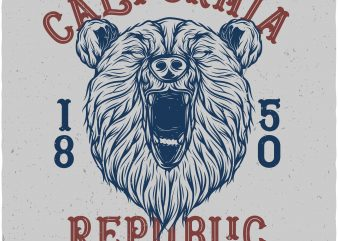 California republic. Vector t-shirt design