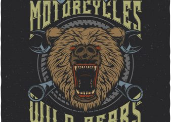 Wild bears motorcycles. Vector t-shirt design buy t shirt design