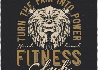Bears fitness club. Vector t-shirt design