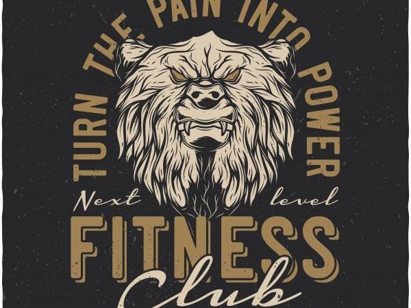 Bears fitness club. Vector t-shirt design