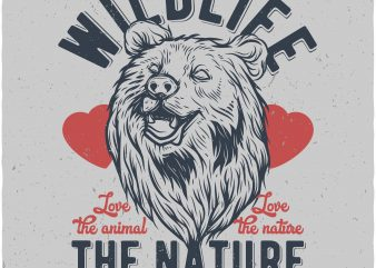 Bears wildlife. Vector t-shirt design buy t shirt design