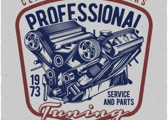 Professional tuning garage. Vector t-shirt design