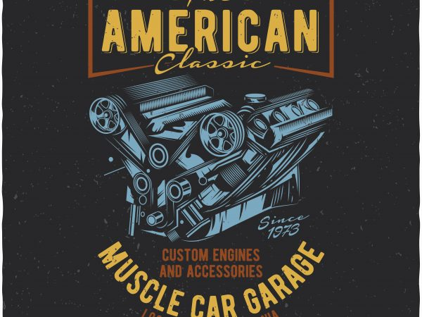 American muscle car garage t shirt vector