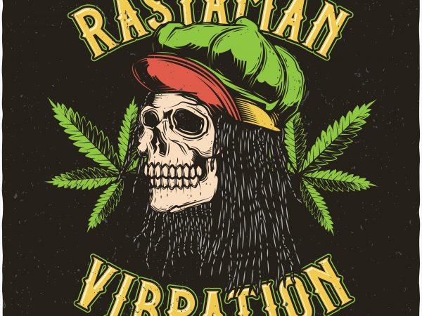 Rastaman vibration. Vector t-shirt design