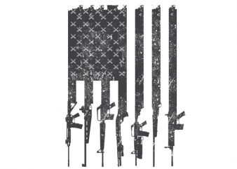 American flag rifles t shirt vector
