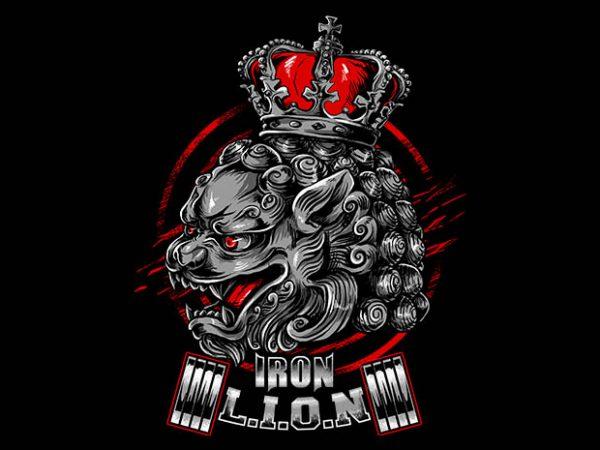 iron lion t shirt design for sale
