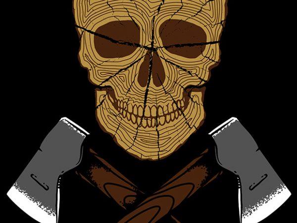 Skull Wood t shirt template vector