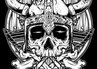 Skull Viking t shirt template vector