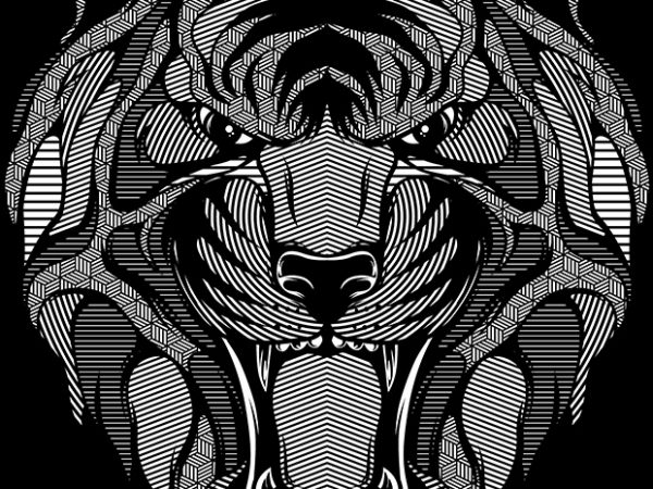 Tiger Zentangle t shirt designs for sale