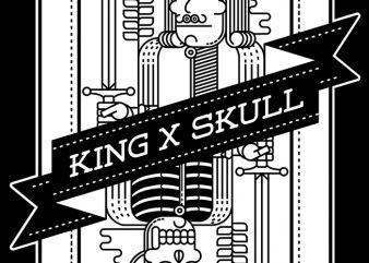 King and Skull t shirt vector art