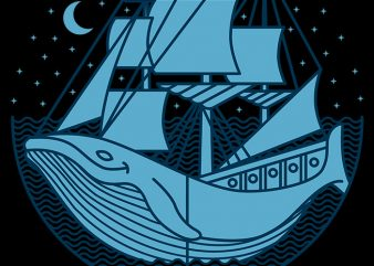 Whaleship t shirt design for sale