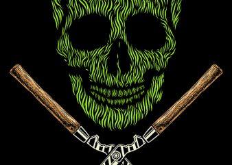 Skull Grass t shirt template vector