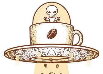 Alien Coffee Invasion t shirt vector