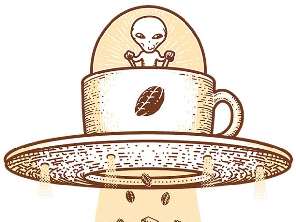 Alien Coffee Invasion t shirt vector