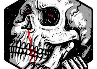Skull Hexagon t shirt template vector