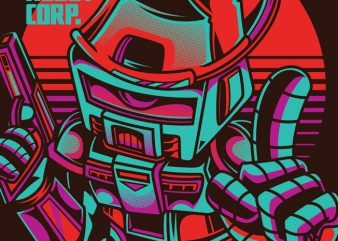 Funky Robot t shirt graphic design