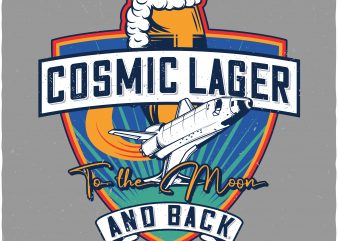 Cosmic lager. Vector t-shirt design buy t shirt design