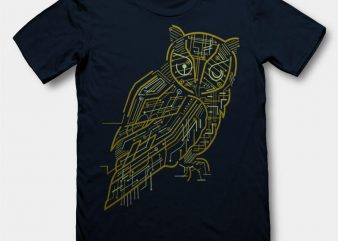 Electrical Owl Graphic tee design buy t shirt design