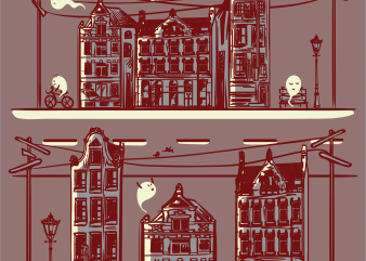 Ghost town t shirt design template