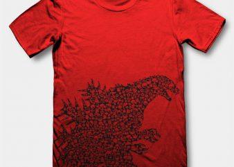 Godzilla t-shirt design