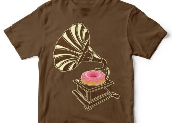 Gramophone Donut tshirt design buy t shirt design