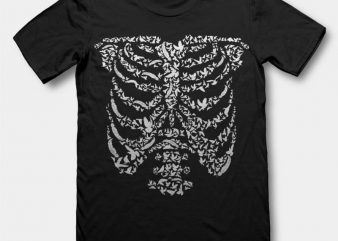 Ribcage Bird t shirt design buy t shirt design