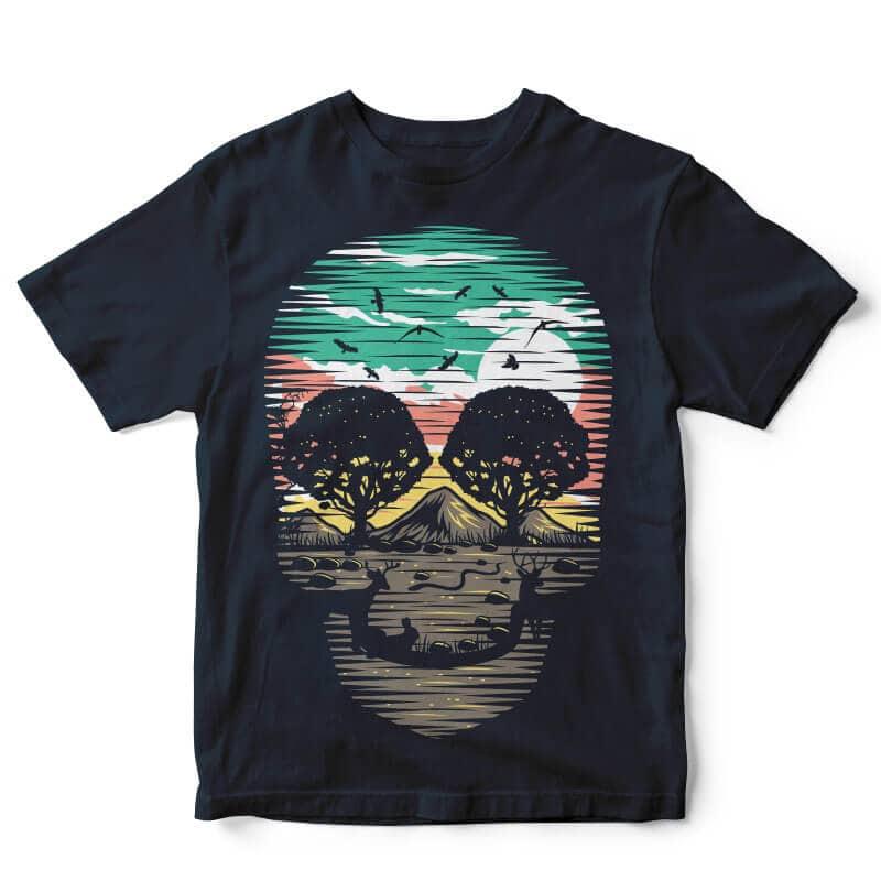 Skull Nature t-shirt design buy t shirt design