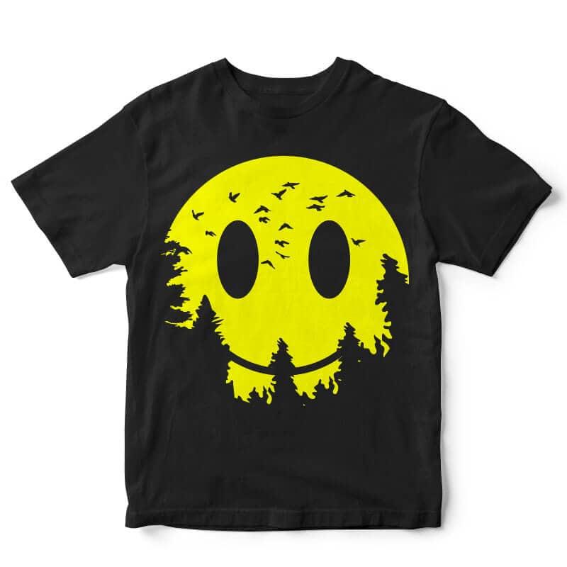 Smiley Moon t-shirt design buy t shirt design