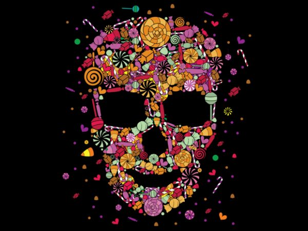 Candy Skull t shirt vector file