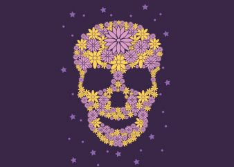 Flowers Skull t shirt graphic design
