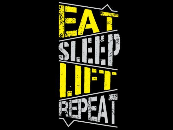 Eat sleep lift repeat vector clipart
