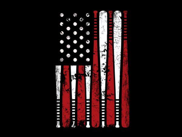 Usa Flag Basball t shirt vector graphic