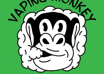 Vaping monkey. Vector t-shirt design