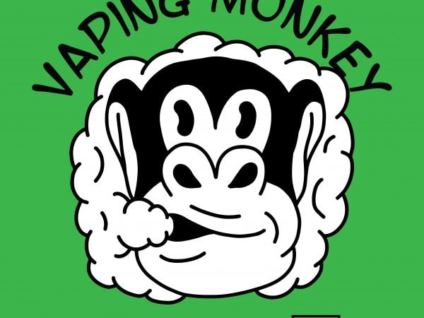 Vaping monkey  Vector t-shirt design