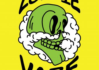Zombie vape. Vector t-shirt design