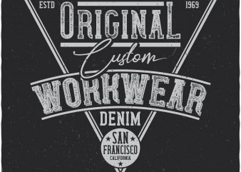 Denim label. Vector t-shirt design