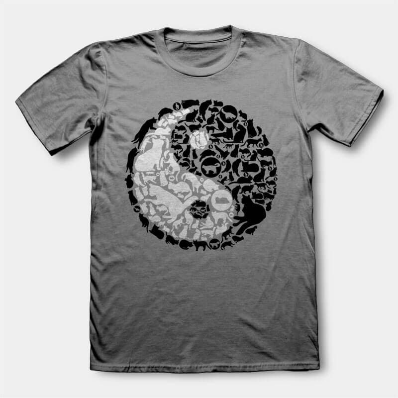 YinYang Cats t-shirt design buy t shirt design