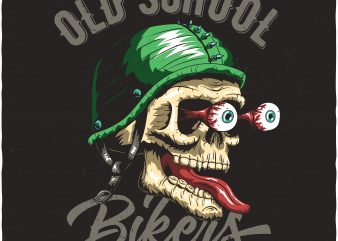 Biker's skull. Vector t-shirt design