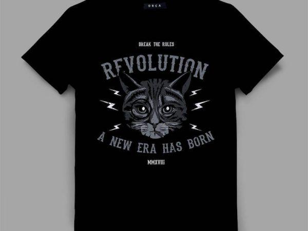 cat 2 revolt Graphic tee design