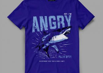 Shark Angry Vector t-shirt design