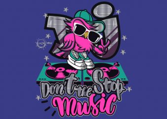 Don't Stop Music t shirt vector illustration
