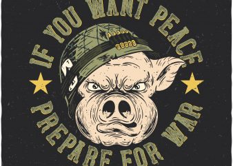 Soldier pig. Vector t-shirt design buy t shirt design