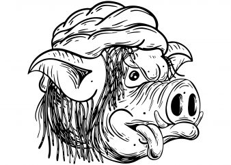 Rastaman pig. Vector t-shirt design buy t shirt design