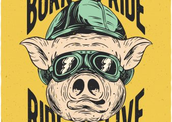 Biker pig. Vector t-shirt design