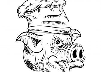 Cook pig. Vector t-shirt design buy t shirt design