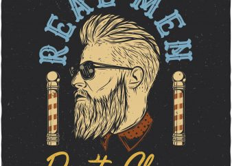 Real men don't shave. Vector T-Shirt Design