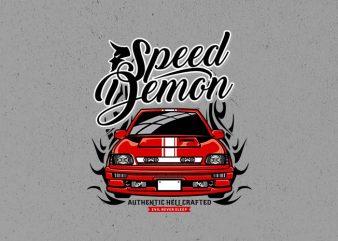 speed demon t shirt template vector
