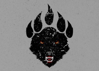 wolf claw t shirt design for sale